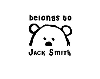 Bear Bookplate stamp, your name stamp, personalized gift, belongs to stamp, back to school gift, stamp for teacher, library stamp, kids gift