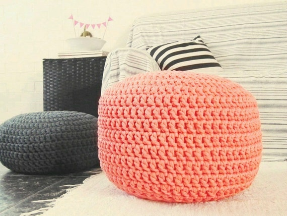 Coral Ottoman Nursery Footstool - Coral Crochet Pouf - Coral Crochet ...