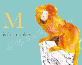 Limited Edition 'Alphabet Monkey' Print by Faye Bradley