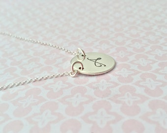 Hand Stamped Sterling Silver Initial/ Monogram Necklace, large font, whimsical, custom, you, children, personalised, personalized