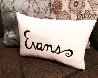 Personalized Hand Painted Canvas Throw Pillow