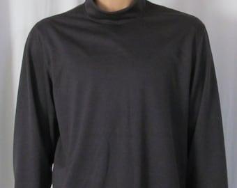 Dark Grey Gray Mock Turtleneck Mens Size S M L XL XXL Big and Tall Extra Long