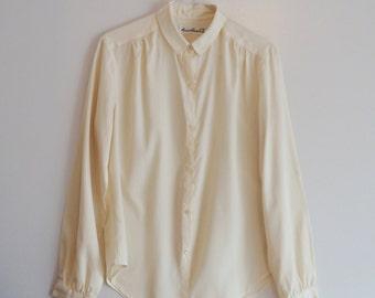 Vintage Ivory Silky Blouse/Minimal 70s Pale Blouse/ Size M