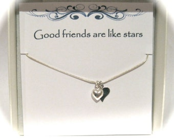 Sterling Silver Stamped Heart Necklace 'Friends are like stars'
