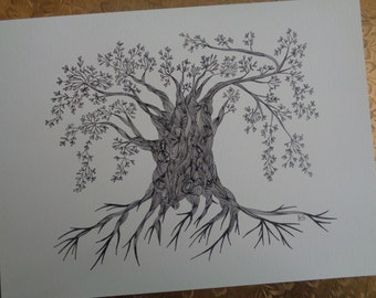 """Abstract Art Print  of Original Line Drawing / Size 9""""X12"""" / OLD TREE"""