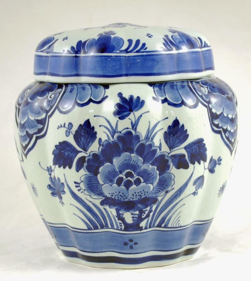 Vintage Dutch Delft Blue Pottery Porceleyne Fles tobacco jar