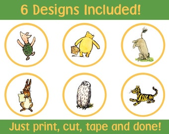 6 Printable Digital Classic Winnie the Pooh Cupcake Toppers INSTANT DOWNLOAD Digital File