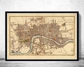 Old Map of London , England United Kingdom 1807