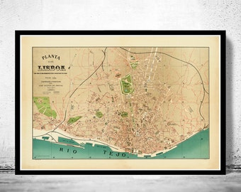 Old Map of Lisbon Lisboa Portugal mapa antigo 1890