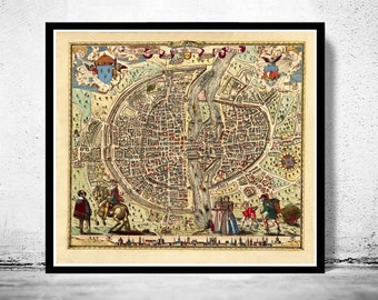 Old Map of Paris 1576