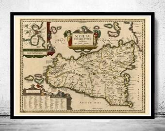 Old Map of Sicily Sicilia, Italia 1600