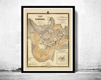 Vintage Map of Pamplona, Spain 1882