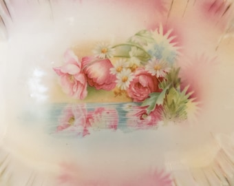 RS Prussia bowl, Antique Porcelain Relish Tray, Reflected Poppies Daisies, Icicle Mold, Decorative Pottery, Floral Art