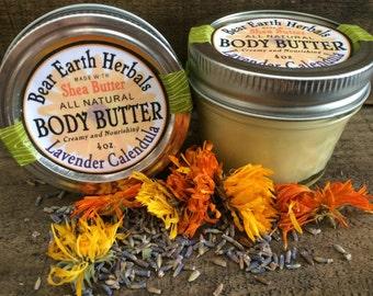 Shea Body Butter - Lavender Calendula - Apricot Kernal Oil - Unrefined Shea Butter - Moisturizing Cream, Rub - Dry Skin - Essential Oil