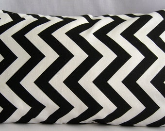 Lumbar Pillow Cover, 12x20 Pillow Cover, Black and White Chevron Pillow Cover, Invisible zipper closure pillow cover