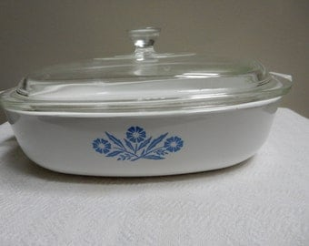 Blue Cornflower 9 Inch Covered Casserole