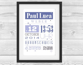 """Birth announcement personalized """"blue star"""""""