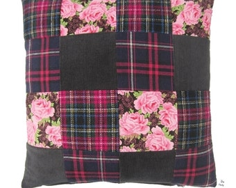 Patchwork cushion cover fuchsia l set of two