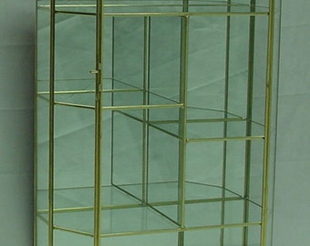 17 tall  Brass and Glass Cabinet with Flat top style and Staggered Shelves