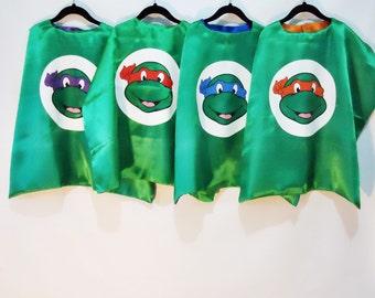 Kids Superhero Cape - TMNt- Raphael- Leonardo - Donatello- Michelangelo- Ninja Turtles- TMNT Birthday- TMNT Birthday Outifit- Ninja Outfit