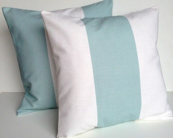 two natural blue striped pillow covers, cushion, decorative throw pillow, coral pillow, 18x18, nautical pillow