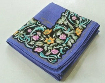 MINT UNGARO PARIS Art Nouveau Floral Pattern Handkerchief