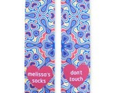 Full Print Custom Socks with Personalized Message, Blue Design, Pink Heart Personalized Socks, Adult Unisex Size fits Most