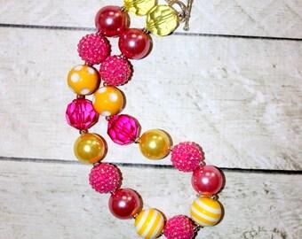 girls chunky bead necklace pink yellow lemonade bubblegum necklace bubble gum bead necklace toddler birthday  pink orange necklace birthday