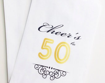 50th Birthday Candy Buffet Favor Bags, Cheer's to 50 Favor Bags, Candy Bar Bags, Treat Bags