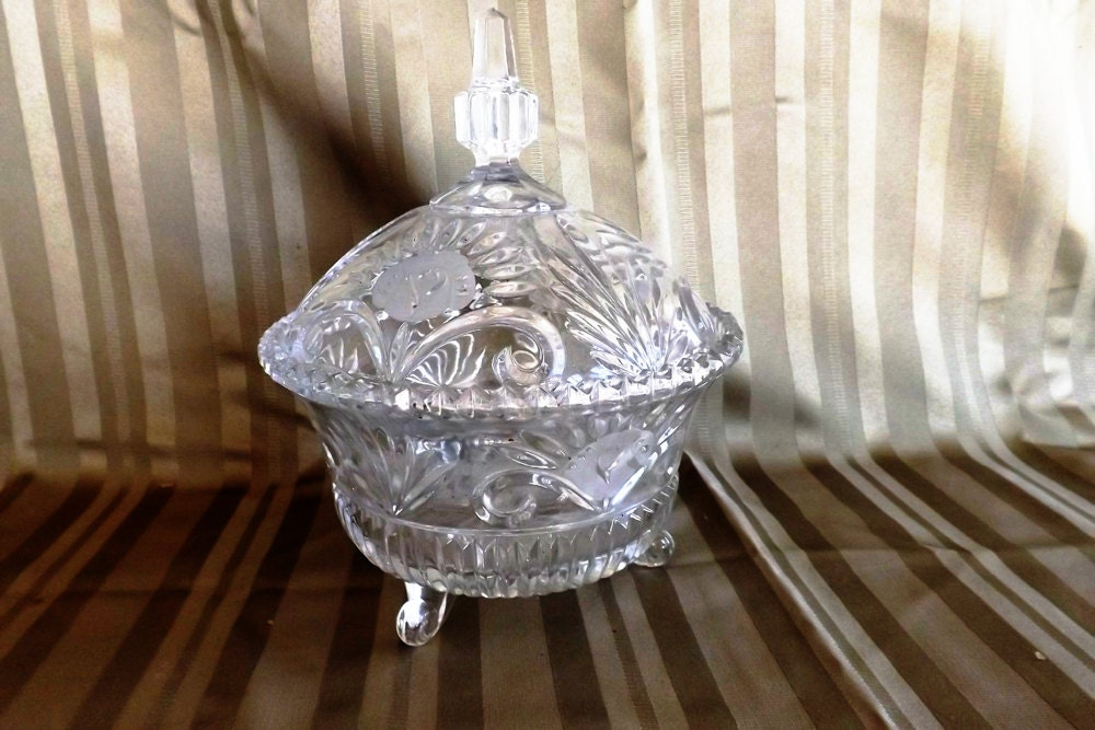 Etched Crystal Footed Candy Dish With Cover