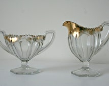 Paneled Glass and Gold Sugar and Creamer Set, Vintage Glass Cream and Sugar, Metallic Gold, Square Handle, Sawtooth Rim, Gold Edged