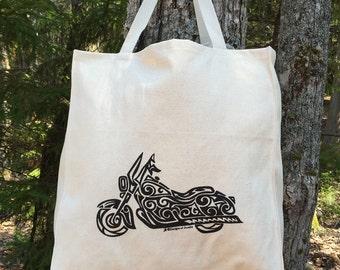 Motorcycle Tribal Tattoo Design Large Over Shoulder Grocery Tote Bag -  Screen Printed Original Design
