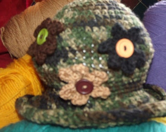 women and girls crochet hats made with acrylic yarn