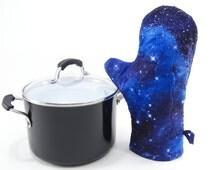 Galaxy Oven Mitt, Quilted Oven Glove, Insulated Pot Holder - Blue Starry Sky Modern Cotton Potholder Housewarming Gift