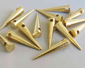 50pcs Raw Brass Spike Tribal Pendant ,Findings 20mm x 5mm- F217