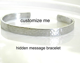 Hidden Message Cuff Bracelet.  Customize your very own hand stamped bracelet.