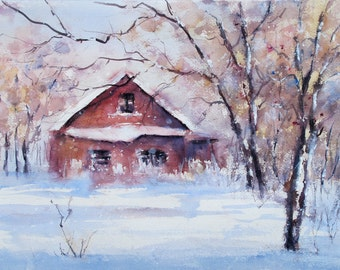 Winter's Memory house farmhouse snow scene