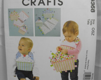 Destash - UNCUT McCall's Pattern M6368 - Craft Pattern - Burp Cloth, Cloth Ribbon Toy, and Bib - Great for Baby Shower!