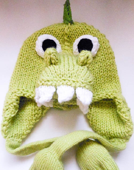 Knitting Pattern Dragon Hat : Knitting Pattern Animal Hat Dinosaur Hat Dragon Hat ...
