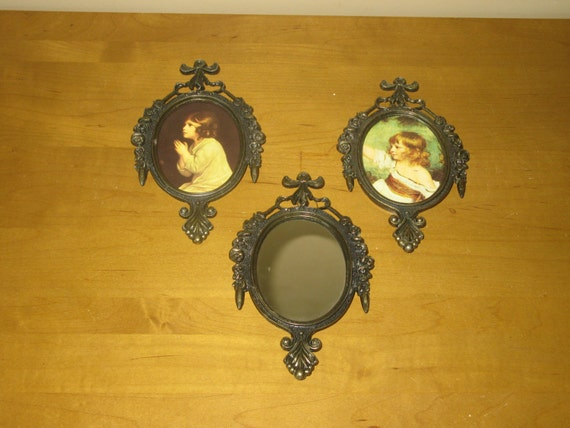 Made In Italy Set Of 3 Antique Brass Plaques With Mirror