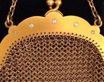 1900's 14k mesh purse with mine cut diamonds.