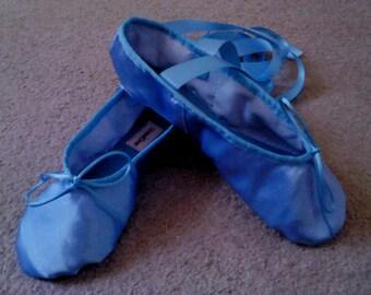 Sky Blue Satin Ballet Slippers Adult sizes Full sole or Split Sole