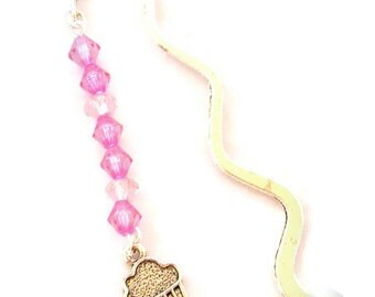 Pink Cupcake II Beaded Metal Bookmark   (JB28)