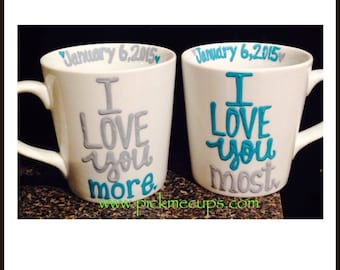 His Hers Coffee Mug Set - I love you I love you More MR and MRS coffee cups- wedding gift - anniversary gift- Shower gift