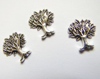 Set of Three Trees - Memory Charms - Tibetan Silver - Tree of Life - Nature - Flaoting Charms