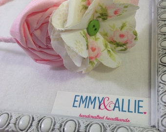 Sweet Pink Fabric Flower Headband Vintage/Baby/Photo
