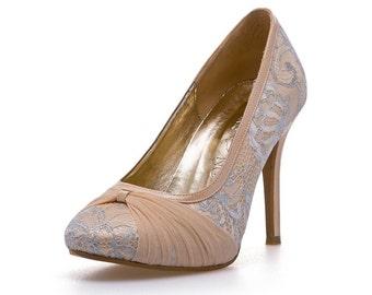 Lady Romance Nude Custom Made Satin Wedding Heels. Nude Chiffon Wedding Heels. Custom Made Wedding Heels