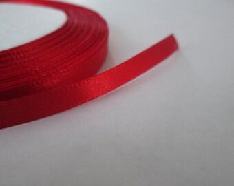 Red Ribbon, 6mm Satin Ribbon, Red Trim, 1 Roll (25yards)