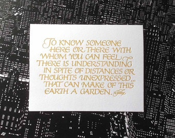 Goethe Quote Greeting Card in Letterpressed Calligraphy