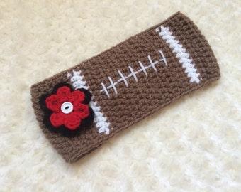 Crochet Adult Football Inspired Headband/ Earwarmer - MADE TO ORDER - Any Team Colors